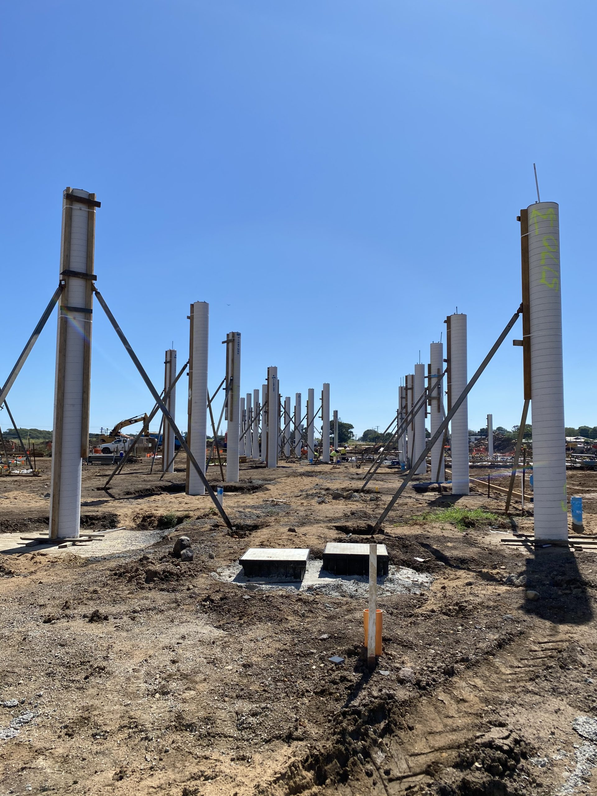 Breezeway columns in position.